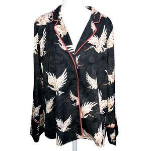 H&M CRANE PRINT INTARSIA LOUNGE TOP